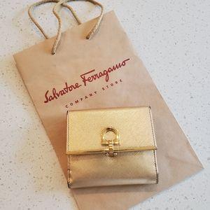 Salvatore Ferragamo Gold Toned Comact Wallet